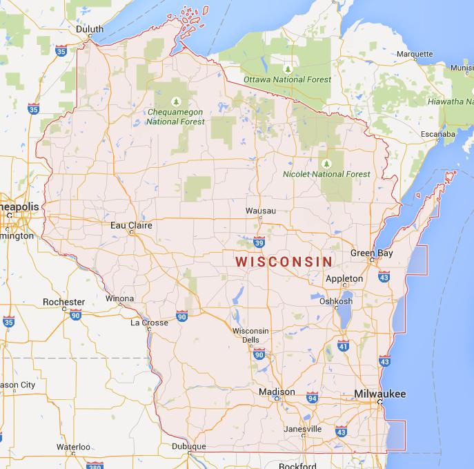 Wisconsin kaart