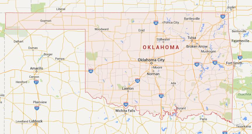 Kaart Oklahoma