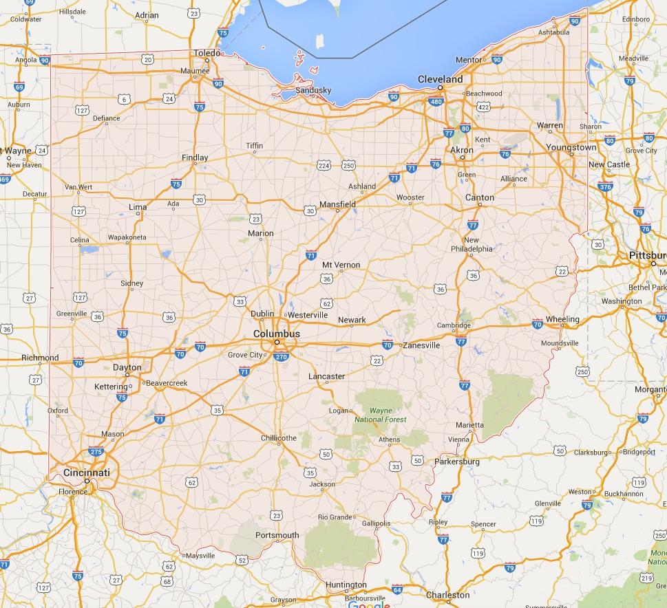 Kaart Ohio