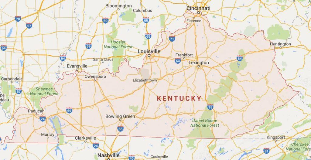 Kaart Kentucky