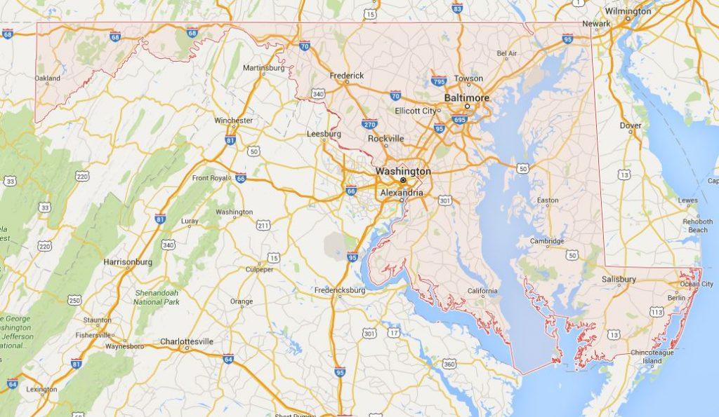 Kaart Maryland
