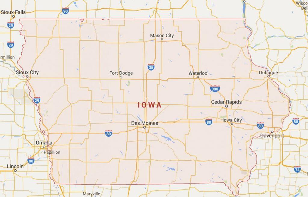 Kaart van Iowa