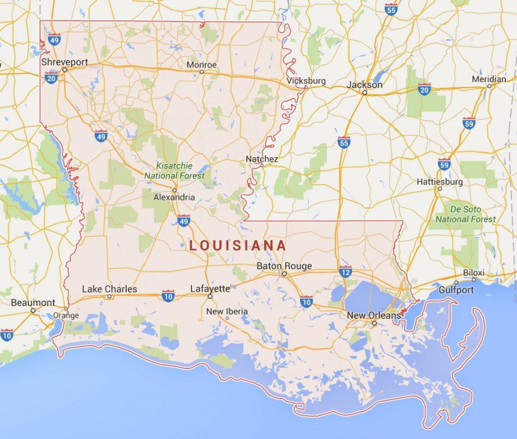 kaart Louisiana